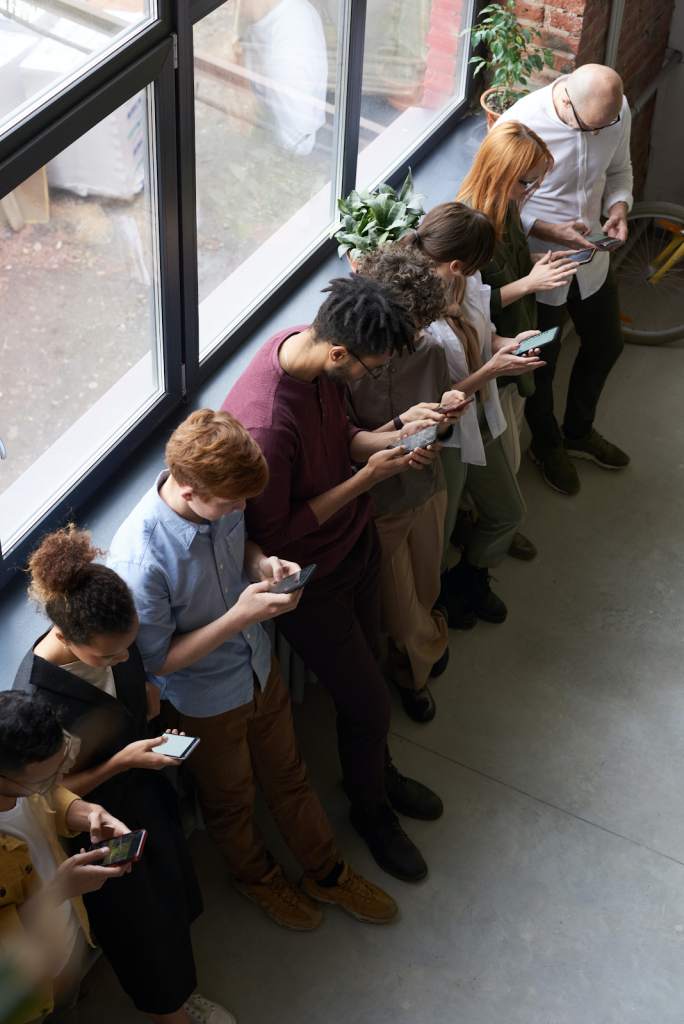 Employees on their phones