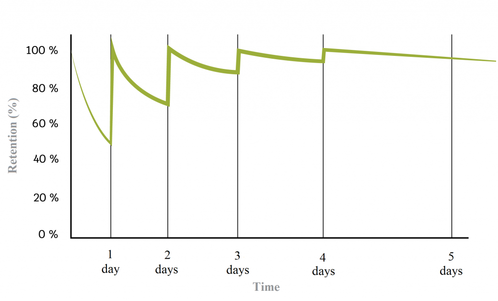Curve indicating the information remembering rate by days of review